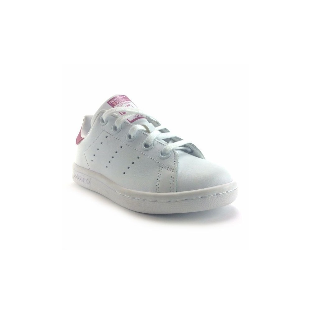 the best attitude 250aa f4cf1 basket basse Adidas stan smith BA8377 fille blanc et rose en cuir