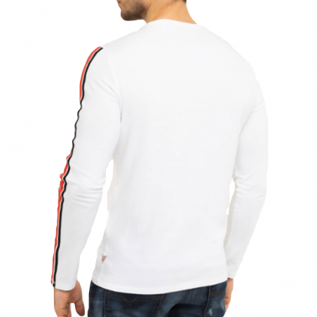T shirt manche longue homme Guess Blanc Bande tee