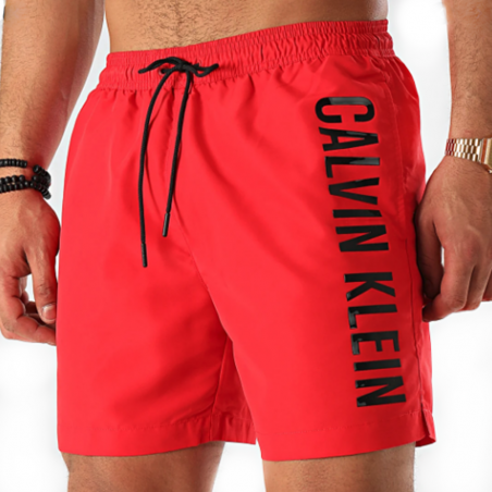 Short de bain homme Calvin Klein Rouge big side logo