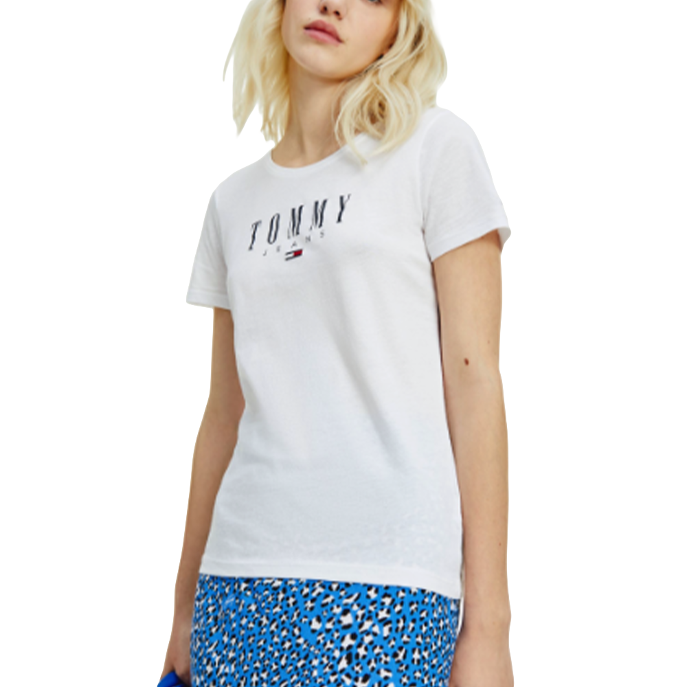 Tee shirt manche courte femme Tommy Jeans  Blanc  Essential skinny logo tee
