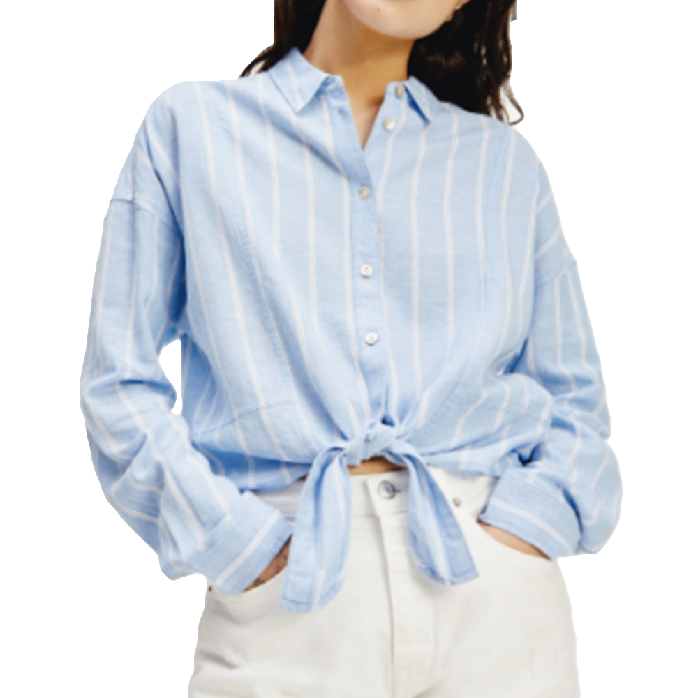 Chemise manche longue femme Tommy Jeans  Bleu  Relaxed front knot shirt
