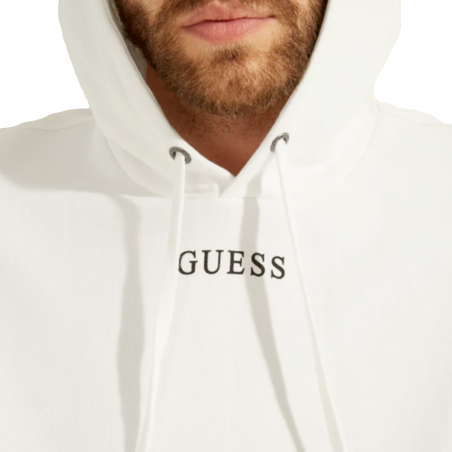 Sweat capuche homme Guess Blanc Front logo